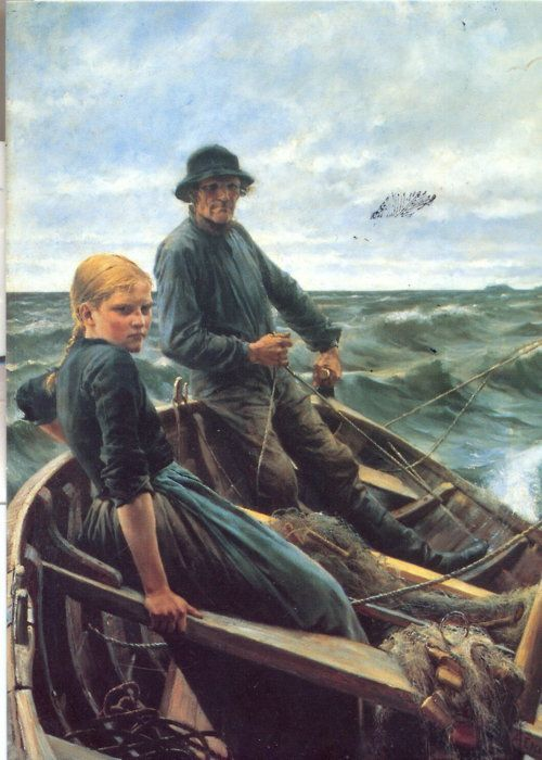Finnish artist Albert Edelfelt (1854-1905): At Sea (1883)