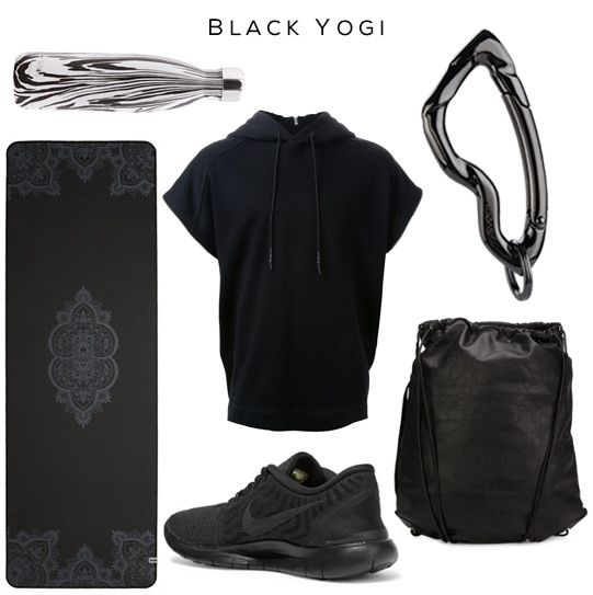 Black Yogi  Clockwise: Noir Zebra Bottle by S'well, Hoodie by JUUN.J, Arcus carabiner by SVØRN, Gym Sack by Alexander Wang, Sneakers by NIKE, Yoga Mat by PRANA   #yoga #style #black #allblack #yogastyle #yogaclothes #alexanderwang #luxury ##accessories #sneakers #gym