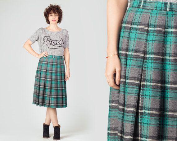 70s Blue Plaid Pleated Skirt / Turquoise & Grey Flannel Wool Midi Skirt / Teal College Tartan Medium M Skirt