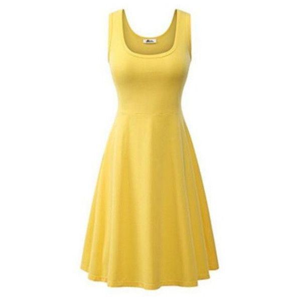 Women's Women Summer Beach Casual Flared Tank Dress ($9.99) ❤ liked on Polyvore featuring dresses, yellow, beachy dresses, yellow beach dress, beige dress, beige summer dress and day summer dresses #tankdress