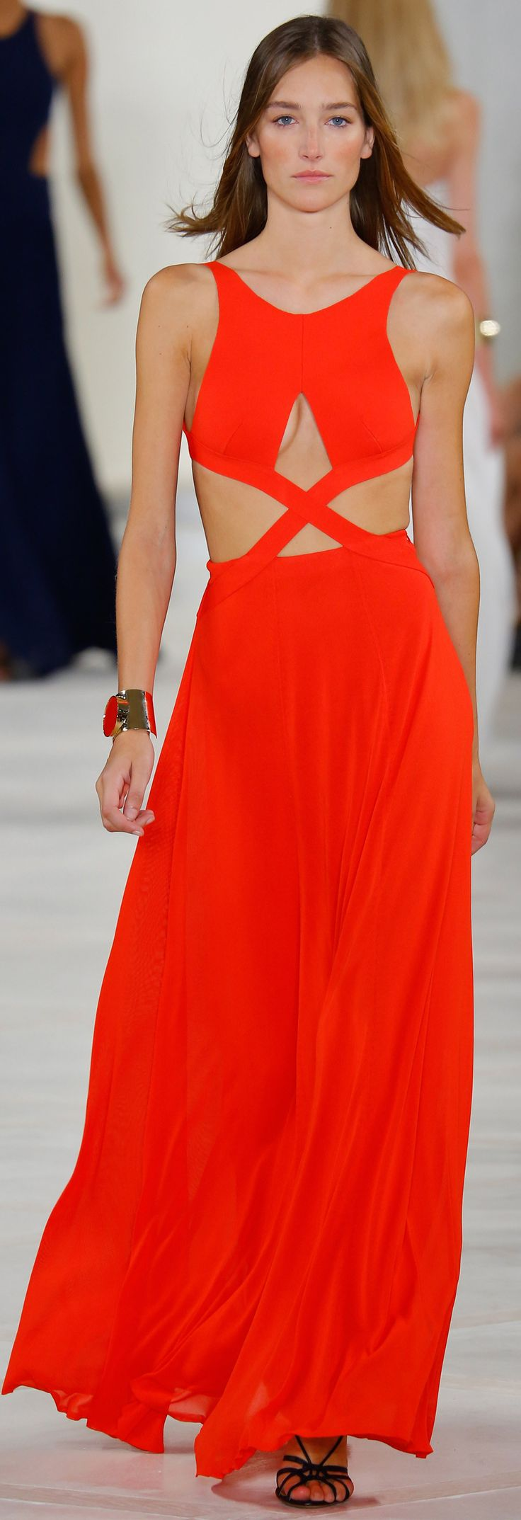 Spring 2016 Ralph Lauren Collection: bright red gown with cut out details