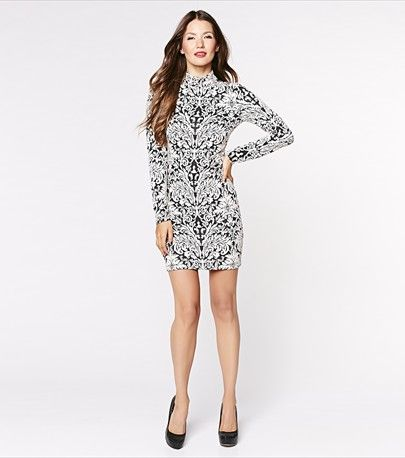 Mock Neck Bodycon Jacquard Dress - $59.90