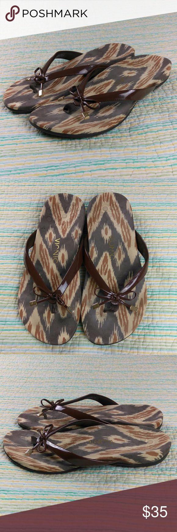 Vionic 9 Bella II Brown Bow Flip Flop Thong Sandal Vionic Women's Size 9 Bella II Brown Bow Flip Flop Thong Orthaheel Sandals Vionic Shoes Sandals