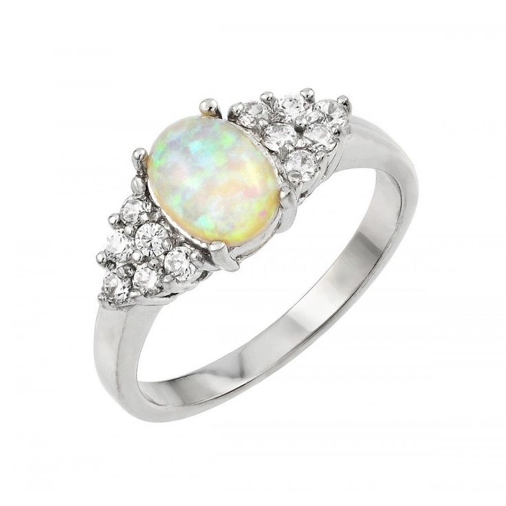 Sterling Silver Rhodium Plated Opal Clear Cluster CZ Ring