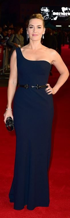 Who made Kate Winslet's blue one shoulder gown and studded clutch handbag?