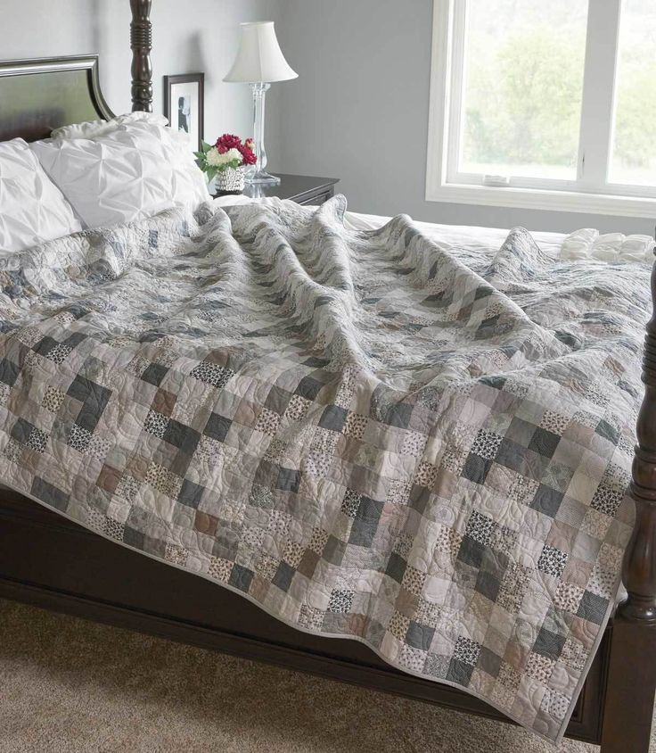 """This queen-size quilt pattern, Remaining Neutral by the Fons & Porter Staff, was created with subtle neutral prints and solids. Strip sets from 2½"""" precuts make sewing so simple and so much fun! This one goes with any décor, so spruce up any room in your home."""