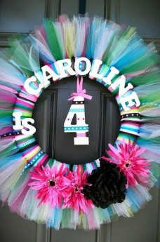 Birthday wreathKids Birthday, Birthday Parties, Cute Ideas, Tutu Wreaths, Tulle Wreaths, Birthday Wreaths, Parties Ideas, Girls Birthday, Birthday Ideas