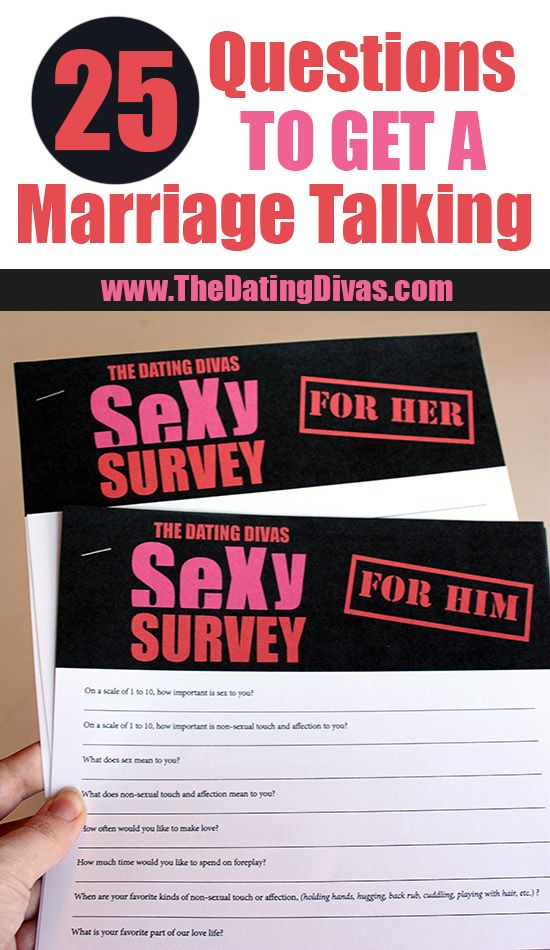 25 Questions to ask your spouse to improve your love life!  Love this!!  www.TheDatingDivas.com