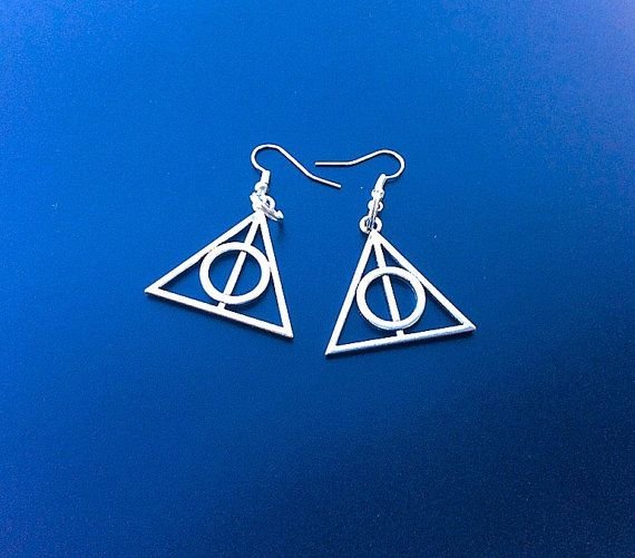 Deathly Hallows  earrings Gifts for her Fantastic by PetalcraftArt
