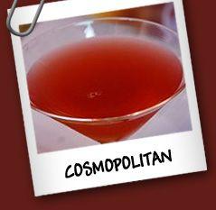 Cosmopolitan Ingredientes: • 1 oz vodka • 1/2 oz triple sec • 1/2 oz jugo de lima • 1/2 oz jugo de cerezas  Preparacion: Mezclar vigorosamente en una coctelera con hielo todos los ingredientes. Servir en una copa de martini colando el hielo.