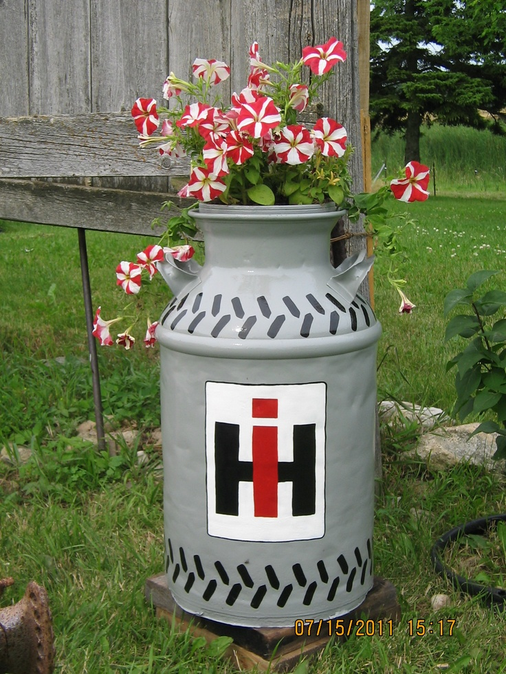 Ih milk can planter my style pinterest milk for International harvester room decor