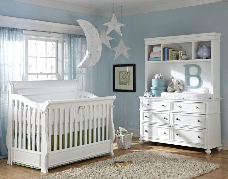 Sweet Dreams to be had in this classy nursery! All white is so calming and let's you pick the accent color! Madison by Legacy Classic