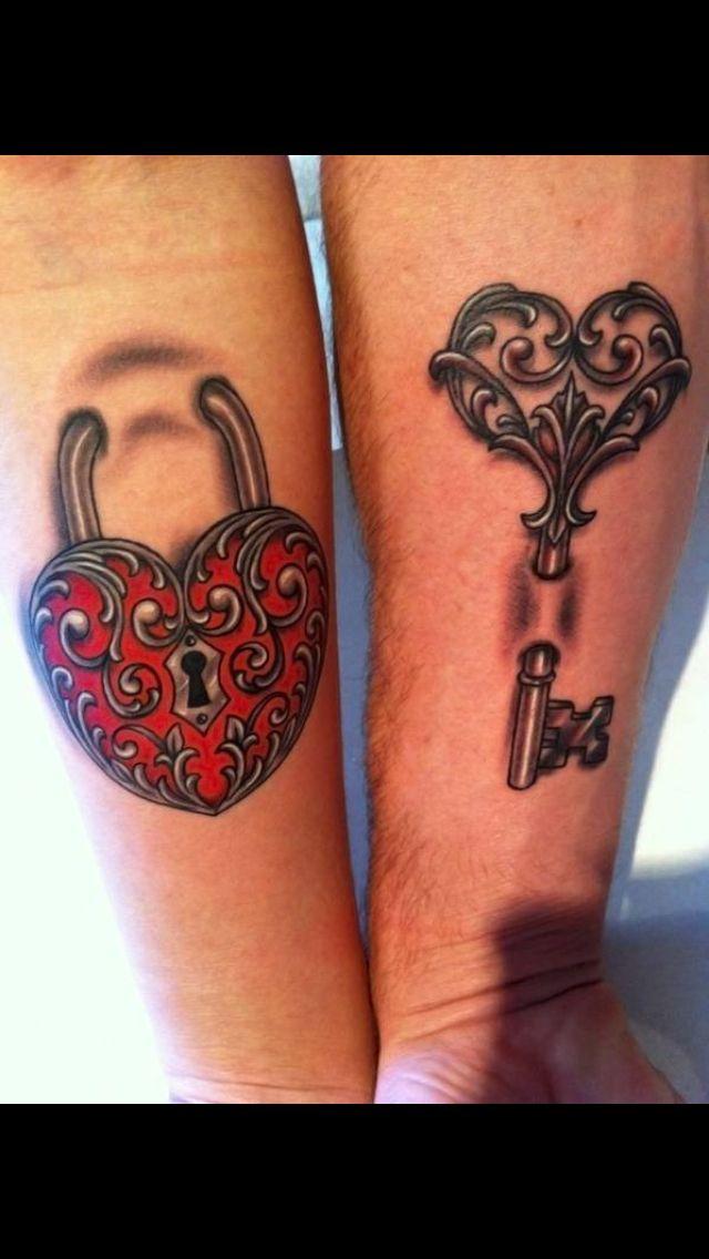 couples heart lock and key tattoo tattoos we like ideas pinterest heart matching tattoos. Black Bedroom Furniture Sets. Home Design Ideas
