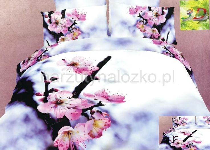 Modna fioletowa pościel 3D do pokoju w kwiaty