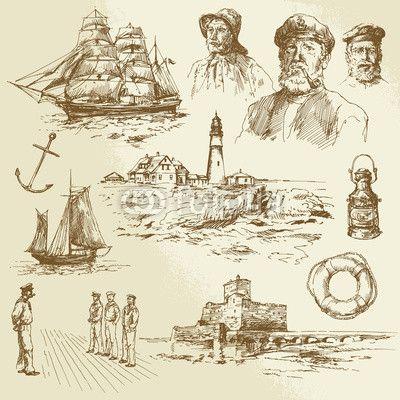navy illustration, captain, ship