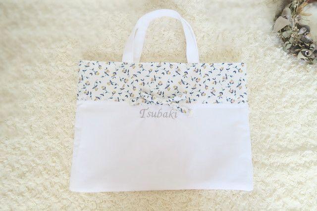 ハンドメイドマーケット+minne(ミンネ) +【受注生産】㉒ひもりぼんのの名前刺繍レッスンバッグ(裏布付き)