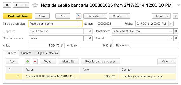 Nota de débito bancaria - Contabilidad - Documentación