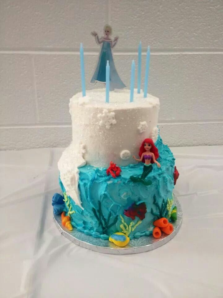 frozenlittle mermaid cake cakes pinterest mermaids