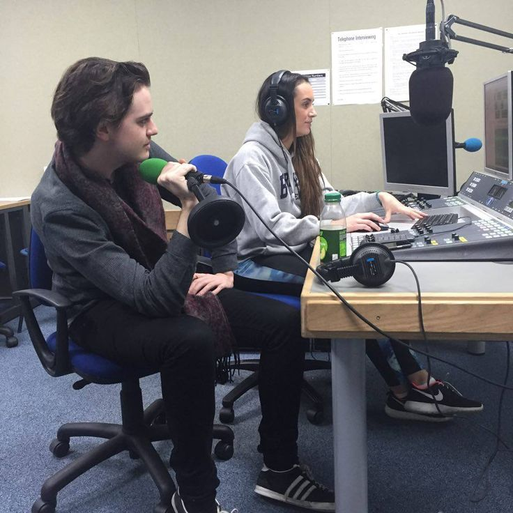 Gabi and Luke creating their entertainment package in the radio studios #news #bournemouth #dorset #bammj