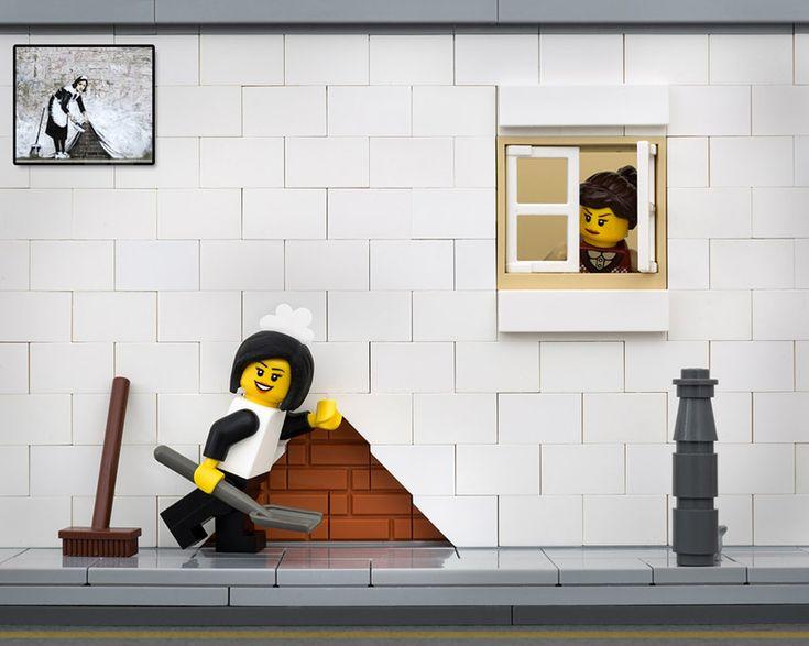 jeff friesen reimagines banksy works in LEGO for bricksy series| 'maid in london — secret sweeper'