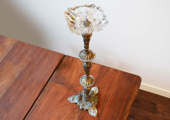 Art Nouveau Crystal Ash Tray Stand  Smoking by Trashtiques on Etsy