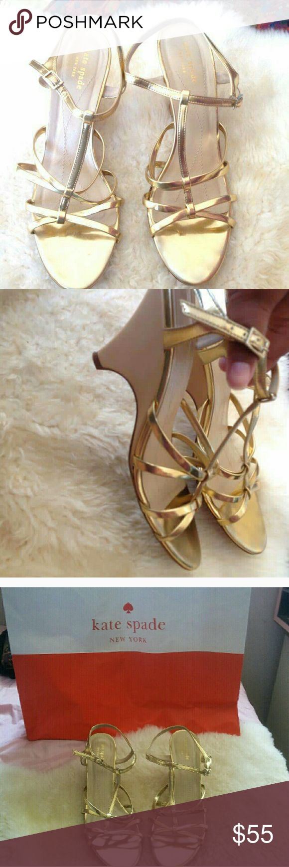 ♠️KATE SPADE ♠️ Gold Wedge Heel Used a couple of times. Great for a wedding. Signs of wear seen on pic. There is a scuff on heel. See pic. 3 inches high. kate spade Shoes