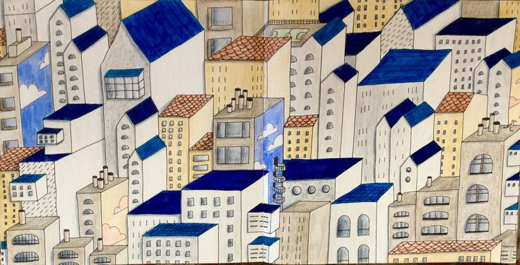 Dream Cities. On the Rooftops. After Santorini, coloured by Prue.