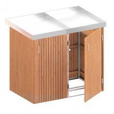 Binto Mülltonnenbox für 2 Behälter, Hartholz mit Pflanzschale