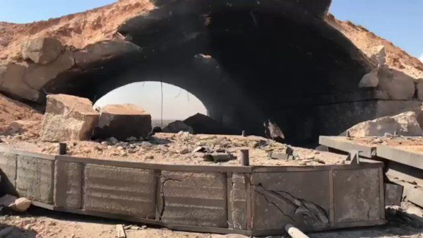 First look at the HAS damaged by the US Tomahawk missile strike on the Shayrat Airbase, Homs Syria today