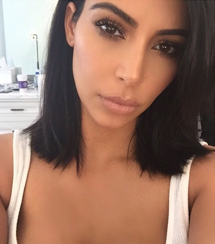 Kim Kardashian's short lob haircut by celebrity stylist Gregory Russell