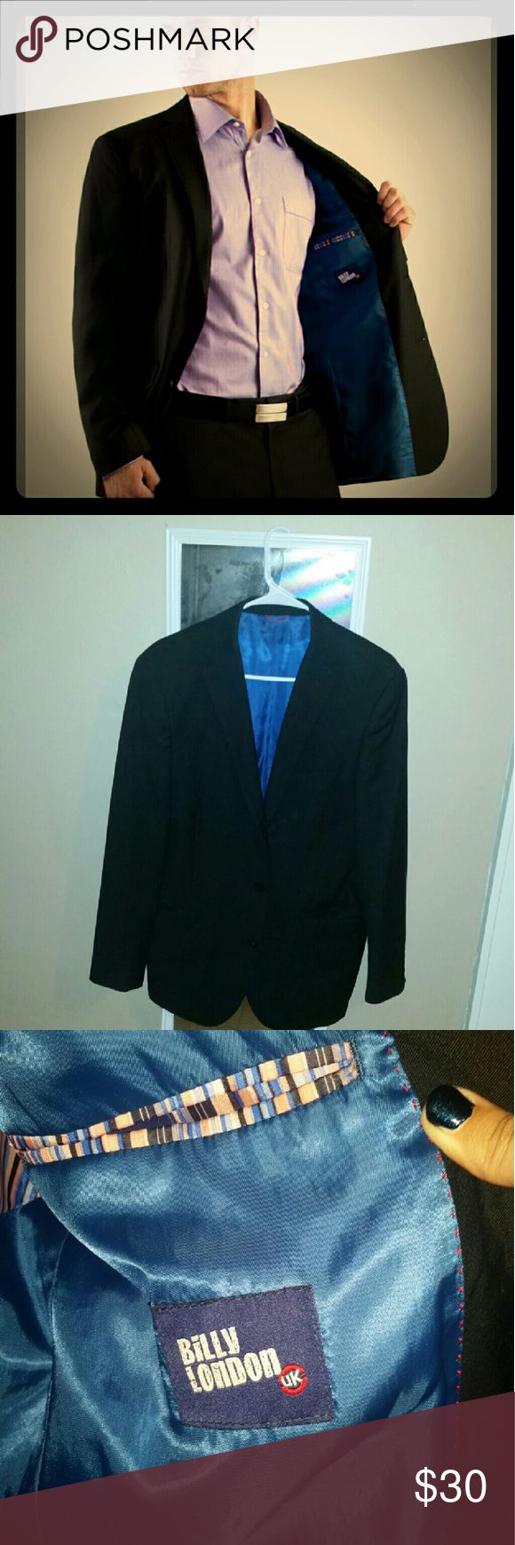 Black Suit Jacket 3 button Black Suit Jacket with blue lining and 2 breast pockets. Size 40R made by Billy London. No wear or tear. Just got too small. Billy London Suits & Blazers Suits