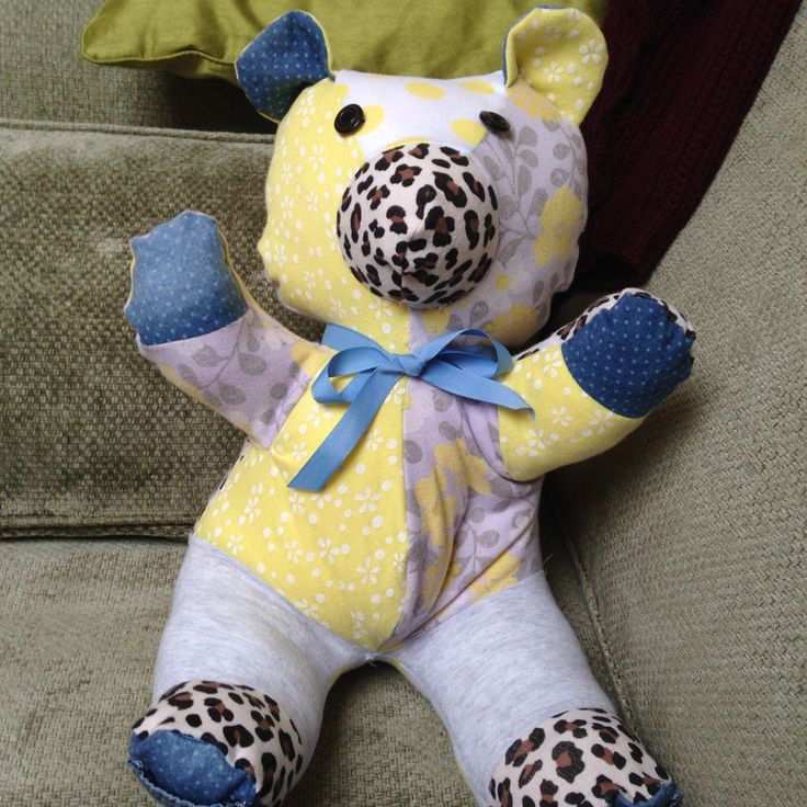 Memory bear from baby grows sewing