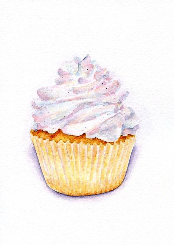 Very Vanilla Cupcake ORIGINAL Painting Vintage por ForestSpiritArt