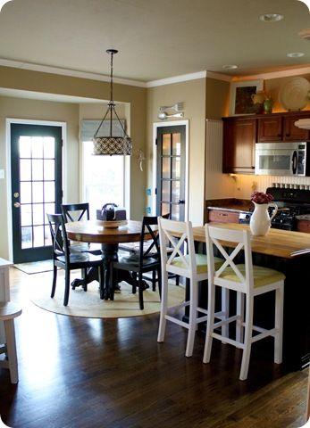 Like The Different Colored Woods Maple Cabinets Black Island And The Pantry Door Kitchen Bay Windowskitchen