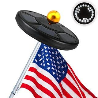 """Features & Benefits"" Solar Flag Pole Light, AYY IP65 Waterproof Outdoor Auto On/ Off Flagpole Lighting Long Lasting Night Light with 26 Super Bright LED Lights for Tent Camping Lawn Patio Garden (Black)"