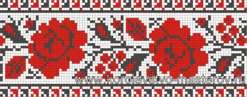 Схема украинской вышивки крестом. Орнамент вышивки Хмельницкой области.
