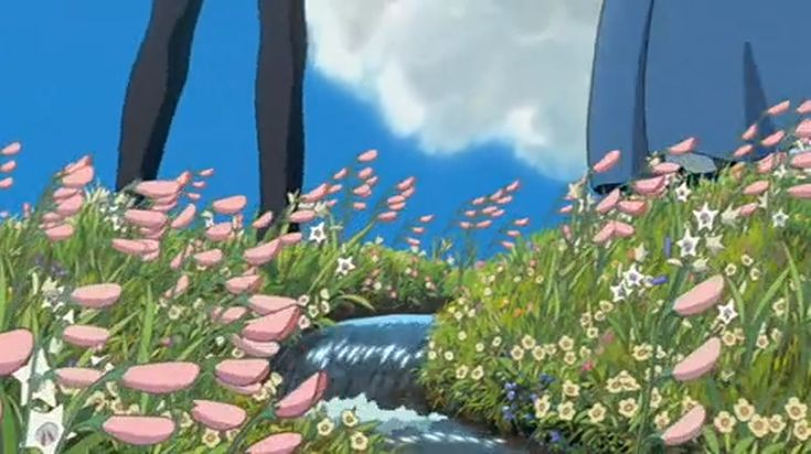Howl's Moving Castle Flower Field Stream