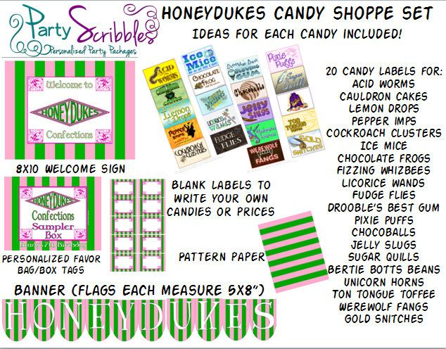 Honeydukes Candy Shop Package For Candy Buffet Or Dessert