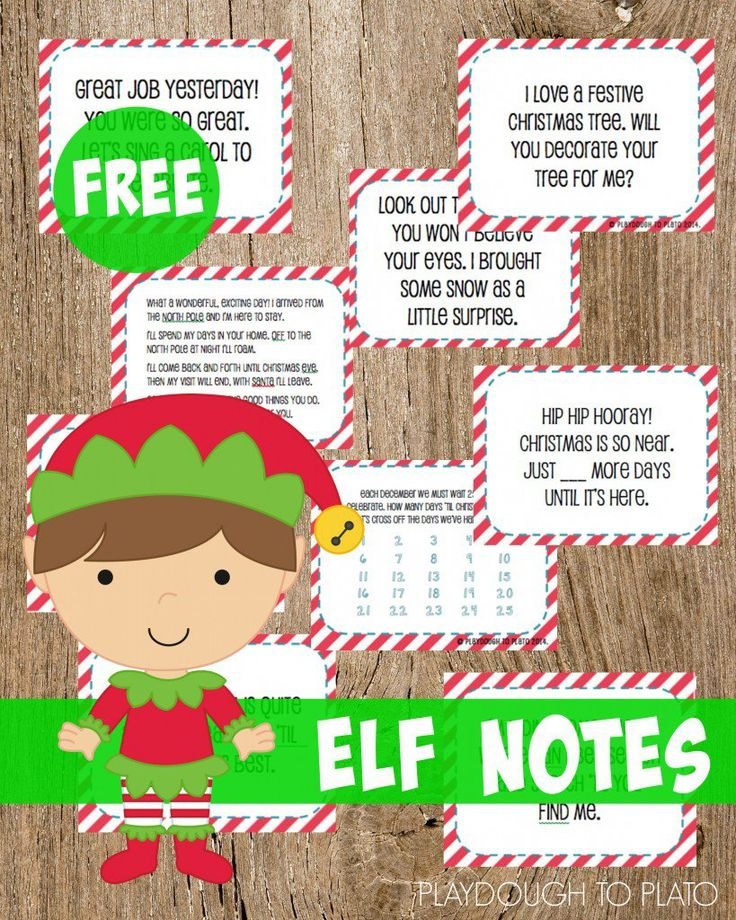 Free Elf Notes for Christmas. Fun Elf on the Shelf activities!