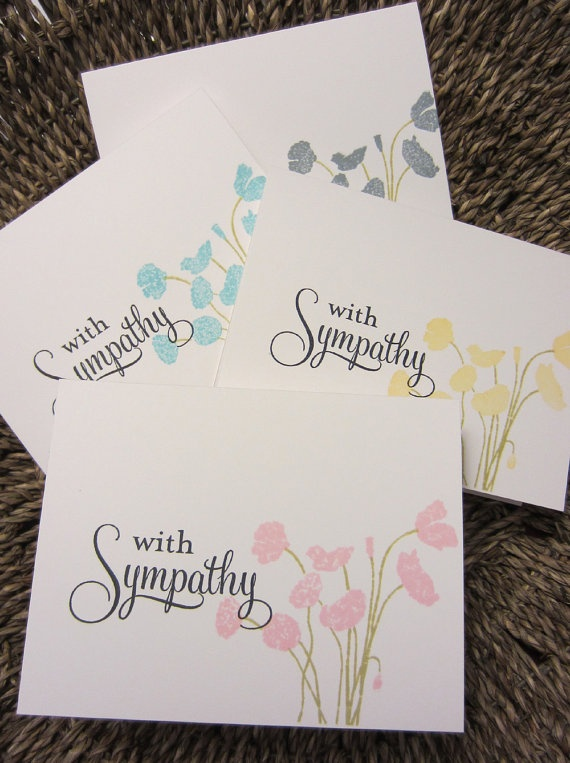 Floral Sympathy Card Set set of 8 A2 Hand by CreativeSyzygy, $14.99