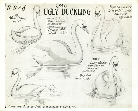 Disney studies for The Ugly Duckling                                                                                                                                                                                 Plus