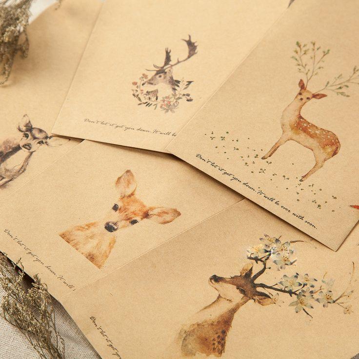 Portefeuille Enveloppe 20 Pièces Cerfs Papier Enveloppe Conceptions Mignon Mini Enveloppes Vintage Style Européen Pour Carte Scrapbooking Cadeau