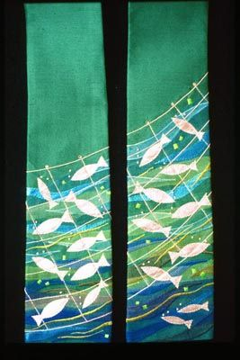 "Excellent companion to the ""Fishers of Men"" banner I pinned earlier.   Source: http://www.church-textiles.co.uk/framain.htm"