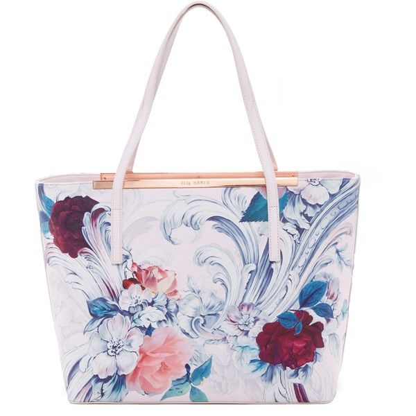 Ted Baker London Tashaar Floral Shopper (170 CAD) ❤ liked on Polyvore featuring bags, handbags, tote bags, baby pink, ted baker tote bag, floral purse, zip top tote, pouch purse and shopping tote bags