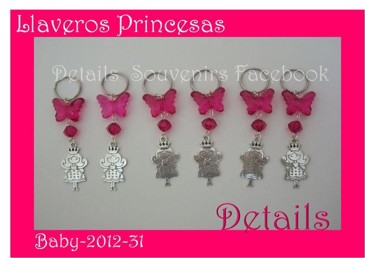 DETAILS SOUVENIRS FACEBOOK Llaveros con dije de princesa como souvenir para Baby shower
