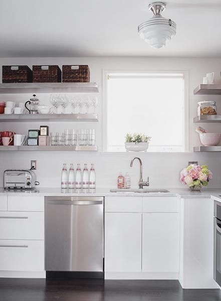 I'm thinking that stainless steel shelves like these would be a great replacement to the upper cabinets.