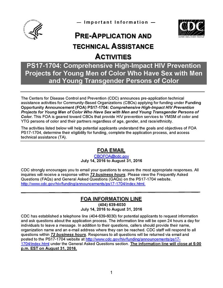 Funding Opportunity Announcement: Pre-application & Technical Assistance activities: High-impact #HIV prevention for young men who have sex with men & transgender people of color: ow.ly/IHhN302oRBe #CDC