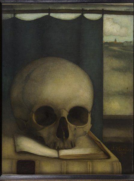 Jan Mankes - Stilleven met schedel op boek 1916