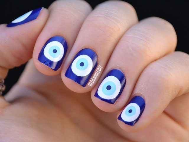 10 Best Evil Eye Nail Art Designs — Kesha Nail Art | Olive These Nails |  Pinterest | Nails, Nail Art and Evil eye nails - 10 Best Evil Eye Nail Art Designs — Kesha Nail Art Olive These