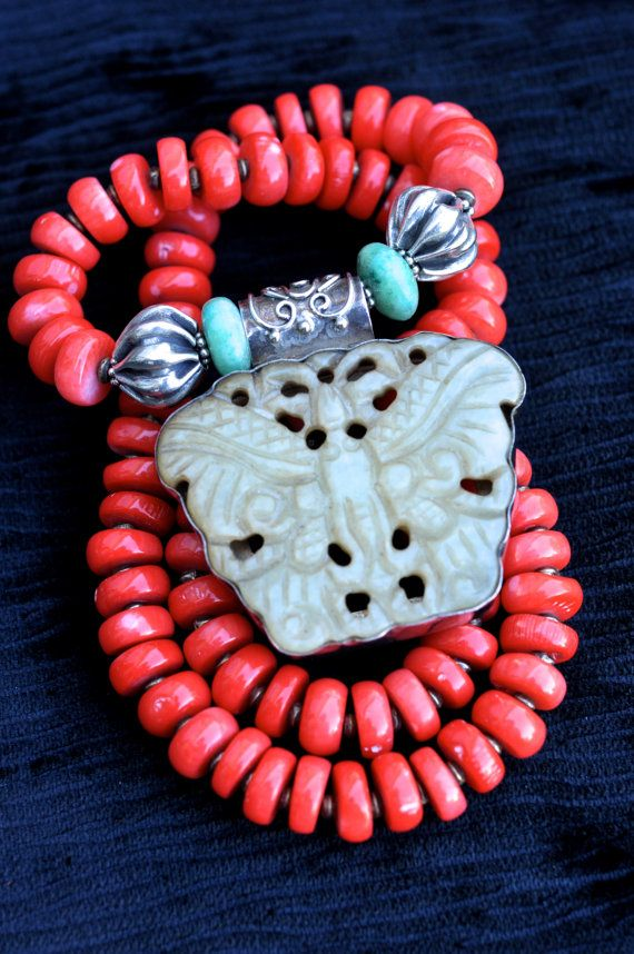 Chinese Magesty  Genuine Coral HandCarved  by dragonladydesign